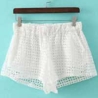 White Elastic Waist Cutout Lace Shorts