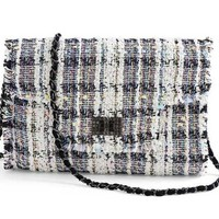 Crossbody Handbag with Velvet Woven Chain/Strap Fringed Edge Crystal Clasp, 8 x 11 in