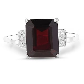 5.5CT Emerald Cut Natural Red Garnet & Diamond Engagement Ring