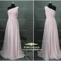 A-line One shoulder Prom Dresses Floor-length Pale Pink Chiffon Cheap Bridesmaid Dress Long Bridesmaid Dress