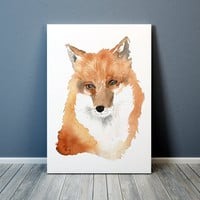 Watercolor fox print Animal art Nursery decor ACW39