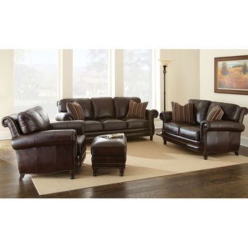 Steve Silver Company CH860S Chateau Sofa in Chocolate Brown with Two Accent Pillows