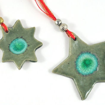 Christmas Ornament Handmade Ceramic Tree Decoration Fused Glass and Beads Gift Tag Rustic Star Green Set of Two