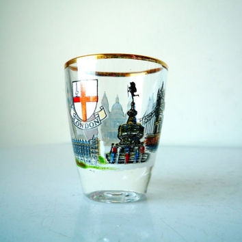 Vintage LONDON Souvenir Shot Glass, Vintage Shot Glass, SALE