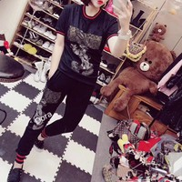 gucci women casual fashion hot fix rhinestone cartoon rabbit short sleeve trousers set two piece sportswear