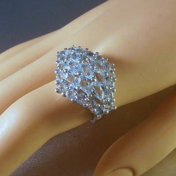 Sterling Aquamarine Ring, Cocktail Statement Size 7, Gift Idea for Her, Bridal Wedding Jewelry