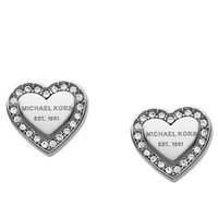 Michael Kors Silver Tone and Glitz Logo Heart Stud Earrings