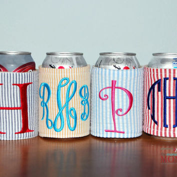 Custom Boutique Seersucker Personalized Monogrammed Insulated Drink Can Koozie Cozy Coozie Drink Hugger Drink Huggie Coosie Koosie