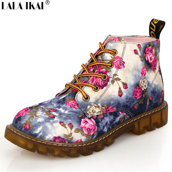 Fashion Women Boots Floral Printed Martin Boots Soft Sole Ankle Boots Lace up Platform Shoes Woman XWN0476-5