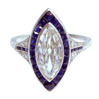 Edwardian Marquise Diamond Sapphire Edged Ring
