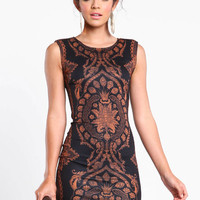 MIRROR BAROQUE BODYCON DRESS