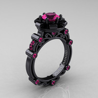 Caravaggio 14K Black Gold 1.0 Ct Pink Sapphire Engagement Ring R631-14KBGPS