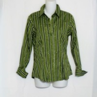 New York Co Shirt Size Small Green Stripes