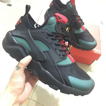 Best Online Sale Gucci x Nike Air Huarache 4 Men Women Mesh Hurache Black Green Sport