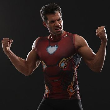 MK50 Iron Man 3D Printed T shirts Men Compression Shirt Avengers Comics Cosplay Costume Clothing 2018 NEW Summer Tops For Male