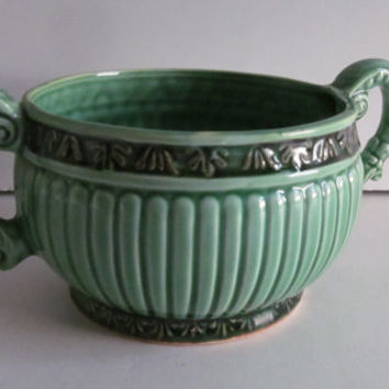 Art Deco Pottery Bowl Green and Black Pottery bowl with 2 handles Numbered Piece