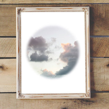 Clouds Photography Printable Modern Art Print Purple Blue Clouds Wall Art Coastal Decor Nursery Decor Teen Room 8x10 11x14 Instant Download