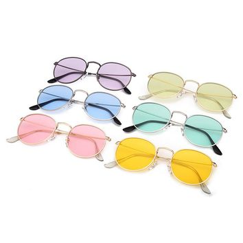 Women Men Vintage Small Round Sunglasses