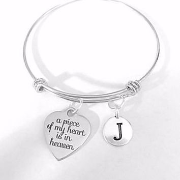 A Piece Of My Heart Is In Heaven Initial Gift Adjustable Bangle Charm Bracelet