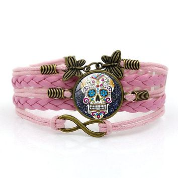 Sugar Skull Bracelets Fashion Glass Cabochon Leather Bracelet