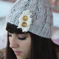 Beanie Hat- , Light Gray, Accordion lace , Wood buttons, Cable Knit, Knitted, Crochet, ivory lace, Christmas Gift.