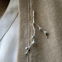 Sterling Silver Twig Brooch Branch with Buds by Decadence2Jewelry