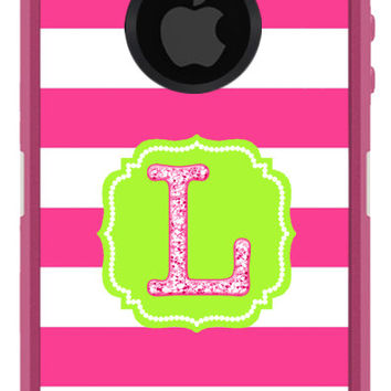 OTTERBOX DEFENDER iPhone 6 5 5S 5C 4/4S iPod Touch 5GCase Custom Hot Pink Stripes Flourish Glitter Initial Pattern - Monogram Personalized