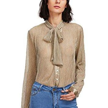 WDIRA Womens Sheer Long Sleeve Tie Neck Work Button up Mesh Blouse Tops