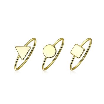 Pyramid Circle 14K Gold Plated Sterling Silver Midi Knuckle Ring Set