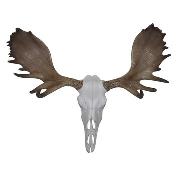 The Alberta Skull | Moose Skull | Faux Taxidermy | White + Natural Rustic Antlers Resin