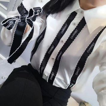 PEAPUF3 Chanel' Women Simple Fashion Letter Multicolor Stripe Ribbon Long Sleeve Shirt Tops H-AGG-CZDL