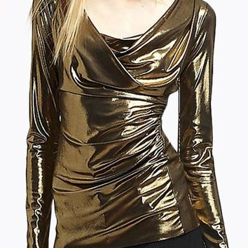Golden Plain Irregular Collarless Fashion Slim Polyester T-Shirt