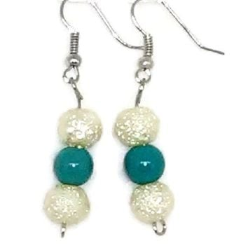 White Sparkle Round with Blue Round Beaded Earrings