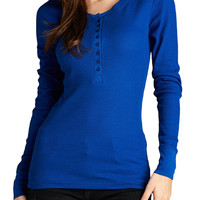 Women Long Sleeve Henley Basic Thermal Tee Shirt Top