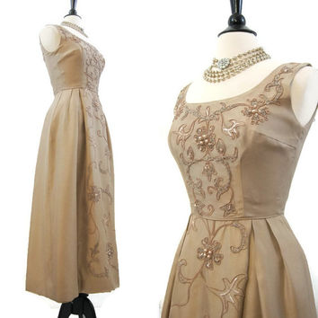 60s Gown Vintage Mocha Silk with Soutache and Beaded Design Evening Formal Dress S s