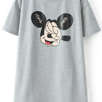 Grey Mickey Print Short Sleeve Graphic T-shirt