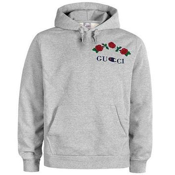 GUCCI X Champion Popular Embroidering Rose Flower Letter Hoodie Sweater Long Sleeve Sweatshirt Grey I