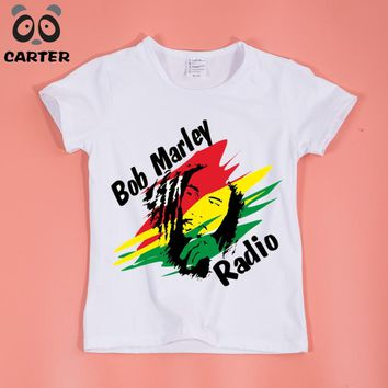 Children Jamaica Singer Bob Marley Reggae Rastafari Print T-Shirt Kids Casual T Shirt Baby Tops Clothing