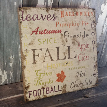 Rustic Fall barnwood sign cottage home decor vegetarian vegan thanksgiving halloween tofurkey football antique white wall hanging photo prop