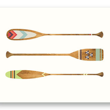 Paddle Away // Nature/ Outdoor Art Print, Wall Decor, Canoe, Wood, Cottage Chic, Folk, Hipster, Rustic, Nursery, Country, Reproduction Print