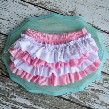 SALE Pink & White Bloomers White Bloomers Cotton Ruffle Bloomers Baby Girl Bloomers Ruffle Photography Prop 0 3 4 6 9 12 months