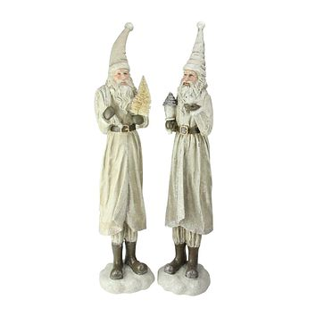 Set of 2 Beige Old World Shimmering Santa Claus Christmas Table Top Figurines