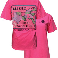 Southern Couture Blessed To Be Southern Comfort Colors Pink T-Shirt