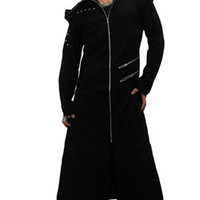 Odin Full Length Black Twill Hooded Coat - Gothic, industrial, steam punk coats