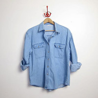 25% OFF STOREWIDE vintage light blue denim jean shirt