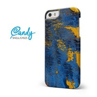 Abstract Blue and Gold Wet Paint iPhone 5/5s/SE Candy Shell Case - Matte Finish