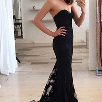 Cheap China Sweetheart Off Shoulder Sexy Black Lace Mermaid Long Prom Evening Dress 2017