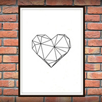Geometric Heart, Modern Decor, Digital Prints, Geometric Art Printable, Wall Decor, Scandinavian Poster, Geometric Poster *8*