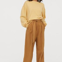 Linen-blend Paper-bag Pants - Dark beige - Ladies | H&M US