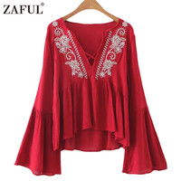 ZAFUL 2017 Women Embroidery Blouse Boho Ethnic Vintage Retro Flowy Bell Sleeve V Neck Casual Blouses Tops Shirts feminino Blusas